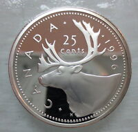 1996 CANADA 25 CENTS PROOF SILVER QUARTER COIN