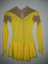 Yellow Ice Skating Dress Figure skaitng Dress For Competition Size Youth 14