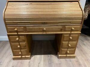 Large Pine Roll Top Desk