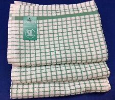 Samuel Lamont Poli-Dri Kitchen/Tea Towels White/Lite Grn 3 Piece Set 100% Cotton