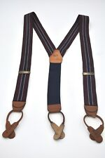 Brooks Brothers Burgundy Navy Tan Made in USA Suspenders Braces Ivy Trad