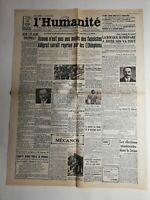 N386 La Une Du Journal L'humanité 10 octobre 1935 La rocque se prépare à joue