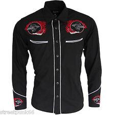 Relco Black Red Rockabilly Biker Western Cowboy Skull Flame Embroidered Shirt