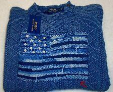 Polo Ralph Lauren Hand-knit Cable & Flag Crewneck Sweater NWT Large $325 Indigo