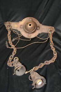 Antique Hand Hammered Look  Arts & Crafts Gothic Two Light Ceiling Light Parts