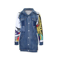 Women Autumn Long Sleeves Jean Patchwork Printed Back Denim Long Jacket Dress