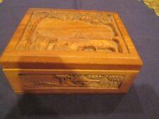 Vintage Carved Wooden Cigarette Box With Holder