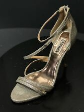 ae98f365ccb Badgley Mischka Landmark Platino Diamond Drill Fabric Women Heels Sandals  Sz 8 M