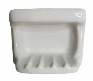Vintage White Ceramic Porcelain Tile Soap Dish Holder With Wash Cloth Bar