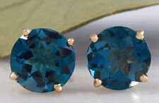 4.25 Carats Natural London Blue Topaz 14K Solid Yellow Gold Stud Earrings