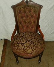 Solid Walnut Carved John Jelliff Parlor Chair / Side Chair (Sc171)