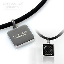 Power Ionics Mens Womens Gremaniun Titanium Ion Black Carbon Pendant Necklace
