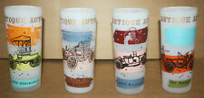 4 Vintage Antique Auto Frosted Drinking Glasses Car Tumblers Beverage Drink