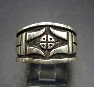 LEONARD JIM Vintage NAVAJO Sterling Silver Overlay RING BAND size 7.5
