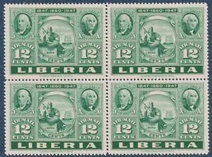 LIBERIA  1947   12c    Block  of 4  MNH  (C1)