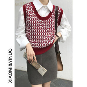 2021new V-neck Cashmere Knitted Sweater Vest Sleeveless Pullover Tank Tops Loose