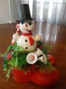 Vintage Snowman Christmas Decor Red Santa Boots