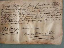 1566 Renaissance Era Handwritten Vellum Manuscript Document Valay French 1500s