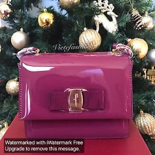 NWT Salvatore Ferragamo Patent Leather Ginny Crossbody Bag In Vin
