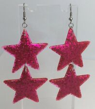 Double Hot Pink Huge Star Glitter Charms Acrylic Earrings D204 Kitsch 7.5cm Long