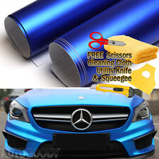 "24"" x 60"" Satin Matte Chrome Metallic Deep Blue Vinyl Film Wrap Bubble Free"