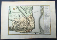1757 Nicolas Bellin Large Antique Map of the City of Quebec, Canada
