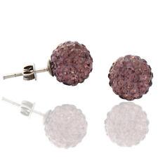 Orecchini sfera mm 10 con strass swarovski lilac e argento 925