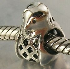 925 STERLING SILVER cut-out Design PENGUIN European slide on CHARM BEAD oxidised