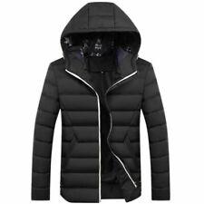 Men Winter Warm Coat Jacket Hooded Casual Overcoat Black Size: S