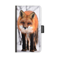 Red Fox Phone Case, PU Leather Flip Wallet Phone Cover For Apple/Samsung/Huawei