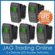 5 x 12V~24V GREEN LED CARLING/ARB/NARVA-STYLE ROCKER SWITCH DUAL LIGHT- Boat/4x4