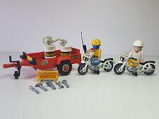 Remolque Antiguo Playmobil Moto Carrera Valvoline Jeep Piloto Motocicleta