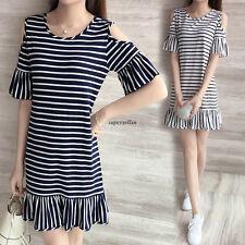 Korean Women Summer Crew Neck Off Shoulder Striped Casual A Line Shirt Dress S