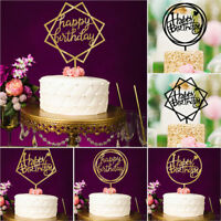 New Geometric Happy Birthday Cake Topper Card Acrylic Cake Party Decoration