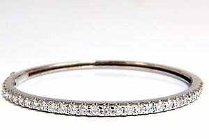 2.48ct Rotondo Naturale Diamanti Bracciale Rigido G / Vs Comune Graffa 14kt