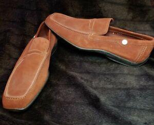 Men's Salvatore Ferragamo Rust Suede Penny Loafer Shoes Size 8.5 E
