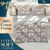 Flowers Pattern Floral Pink Doona Cover Sets with 2x Matching Pillowcases