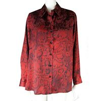 JONES NEW YORK Blouse M Light Silky Reptile Classic Button Down Career Shirt Red