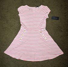 Tommy Hilfiger Girls Pink & White Striped Short Sleeve Dress - Size M(8-10)- NWT