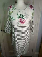 JOULES Peri Tunic Dress Size 12 black stripe with floral print jersey stretch