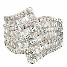 Baguette & Round 3.2ct Wedding Ring Wide Dramatic Cubic Zirconia Swirl Nine Rows