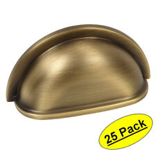 *25 Pack* Cosmas Cabinet Hardware Brushed Antique Brass Cup Handle Pull #4310BAB