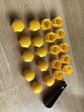 20 Caches Ecrous Jantes Jaune 17mm Renault Peugeot Citroen Fiat Ford Opel Audi