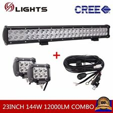 23INCH 144W CREE LED LIGHT Bar Combo Off Road SUV 4WD With 2X 18W SPOT + Harness