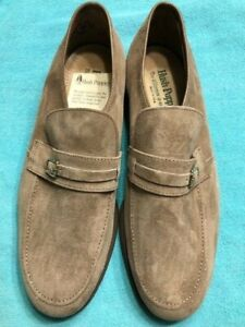 Men's 10.5M HUSH PUPPIES Taupe Brown Suede Leather Buckle Loafers Shoes Classic!