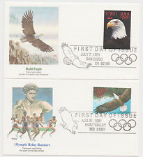 US FDC 1991 Intl Express + Priority Mail 2 Covers $14.95 $2.90 Fleetwood |