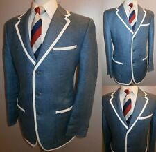 Homme 40 Lin Bleu Nautique Regatta College Rowing Blazer Veston Veste De Sport