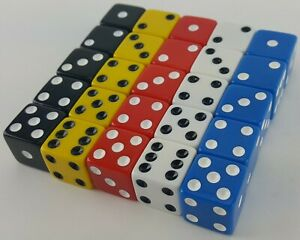 """LIAR'S DICE SET OF 25 RED BLUE YELLOW WHITE BLACK 6 SIDED D6 5/8"""" 16mm LIARS #1"""