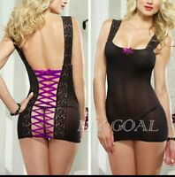 Women's Black Sheer Purple Back Lace Up Babydoll Chemise + G-String Fits 12 - 14