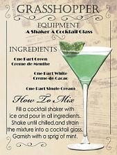Grasshopper Cocktail, Retro Metallo Placca, pub bar cucina shabby chic regalo